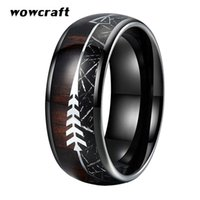 Cluster Rings 8mm Black Mens Womens Wedding Bands Tungsten Wood Arrow Meteorite Inlay Domed Polished Shiny Comfort Fit