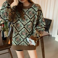 High Quality Women Vintage Knitted Pullover Sweater Autumn Winter Loose Pull Femme Jumpers Korean Knitwear Christmas Sweaters Women's