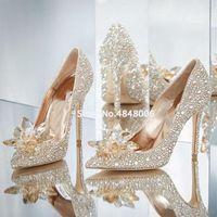 Gullick Rhinestone zapatos de tacones altos mujeres resbalones en bombas de punta puntiaguda mujer cristal vestido de novia