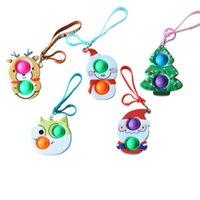 Com Lanyard Push Pop Bubbles Popper Chaveiro Ring Christmas Santa Cláusula Elk Sowman Keychain Sensory Borracha Bolha Bolha Puzzle Bag Charme Finger Brinquedos Educação G82AC01