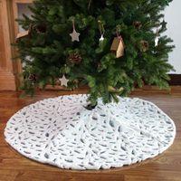 Amerikaanse voorraad decoratie witte pluche kerst geschenken boom rok zilveren kleur gouden veer ornament