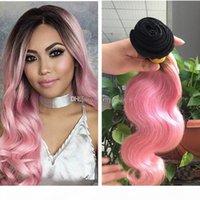 9a ombre extensions de cheveux noir et rose ombre vierge cheveux humains 3pcs deux tons 1b rose rose racines sombres ombre waigre de corps