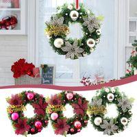 30cm Weihnachtskranztür Hängende Girlande mit Frostklee Natürliche Kiefernkegel Beeren Dekorative Blumen Kränze