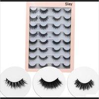 Eyelashes Olhos Saúde Beleza Gota entrega 2021 Handmade3D Faux Faux Hair 16Pairs Natural / Grossa / Crisscross Long Falso Olho Ilhas Wispy Fazer