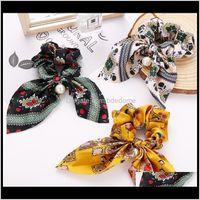 Pony Toils Holder Jewelry Drop Entrega 2021 Francia elegante mujer bufanda banda satinado diadema arco pelo cuerda anudado multicolor clásico patrón