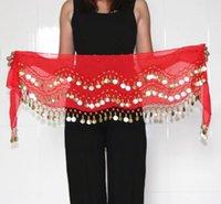 Сцена носить танцевальную одежду женщин практика одежда треугольник бедро шарф красочные регулируемые 128 золотых монеты танец живота