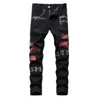 Men Tartan Scotch Plaids Patchwork Denim Jeans Punk Rock Zippers Rivets Black Pants Trendy Slim Straight Trousers