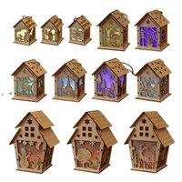 Рождественские светодиодные светлые деревянные дома светящиеся каюта с рождественским днем украшения домашней вечеринки украшения DIY дети подарок счастливые OWF10707