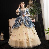 2021 Yeni Sarı Mavi Noel Partisi Elbise Tiyatro Kostümleri Ortaçağ Kare Yaka Masquerade Balyaviler Özelleştirilmiş