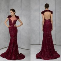 Party Dresses Burgundy Evening Lace Appliqued Sequined Backless Mermaid Prom Dress Sweep Train Formal Gowns Robes De Soirée