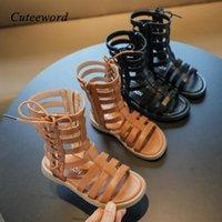 Sandals Summer Girl Roman Shoes 2021 Fashion High-top Children Boots Soft Bottom Zipper Leather Kids Princess
