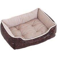 Kennels Pennen Hondenbed Waterdicht Lederen Huisdier Sofa House Verwijderbare Mat Nonslip Bottom voor Labrador Golden Puppy Products