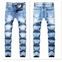 Jeans d'hommes Homme Été 2021 Hommes Longue Taille centrale élastique élastique lavée Pantalon crayon maigre avec poches pour hommes Denim Bleu