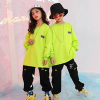Stage Wear Rave Outfit Hip Hop Dance Clothing Kids Jogger Fluorescent Green Jazz Costume Street Dancewear Performance