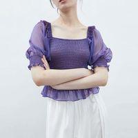 vintage purple transparent short blouses women fashion sleeve elastic female Street Style shirts chic crop top 210510