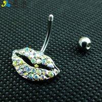 Diy جودة عالية أزياء الفضة الجراحية الفولاذ الملونة حجر الراين شكل الشفاه البطن زر الدائري للنساء مجوهرات الجسم مجوهرات 678 T2