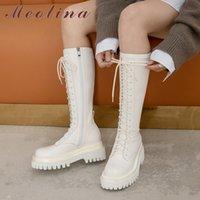 Women Shoes Real Leather Platform High Heel Knee Boots Cross Tied Thick Heels Zip Long Ladies Autumn Beige 210517