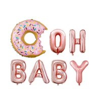 Party Decoration 16Inch Dount Grow Up Latter Decorations Baloon Rose Gold One Baby Pattern Foil Balloons Two Sweet Donuts For 2th Birthday