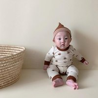 Clothing Sets Baby Boys And Girls Clothes Hazelnut Print Long Sleeves Bodysuit + Leggings Hat 3pcs Cotton Home Wear Outfits
