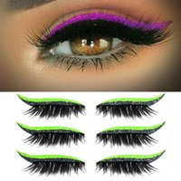 False Eyelashes 7 Colors Reusable Eyelash Stickers Eyelid Makeup Tools Glitter Eyeliner Party Club 4 Pairs
