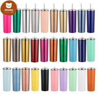 20oz Slim Tumbler Double Wall Stainless Steel Vacuum Insulated Straight Sippy Cups Flask Beer Coffee Mugs Water Bottle With Metal Straws & Spill Proof Lids gr