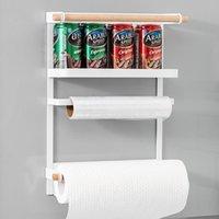 Hooks & Rails Magnet Fridge Shelf Paper Towel Roll Holder Magnetic Storage Rack Spice Hang Decorative Metal Kitchen Organizer
