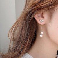 Stud Luxury Fashion Pearl Dangle Drop Korean Earrings For Women Big Butterfly Gold Earring 2021 Party Jewelry Gift