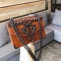 New Quality PU Leather Womens Designer Handbag 2021 European Fashion Female Square Bag Rivet Lock Chain Shoulder Messenger Bags