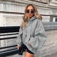 FitShinling Hoodies Ruched para Mulheres Estéticas Oversized Hoodie Cordão Sólido Empilhado Solto Com Capuz Moletom Camisola Inverno Athleisure