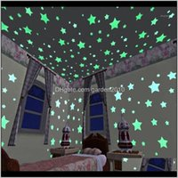 Décor & Garden3D Stars Shine In Bright Black On The Stickers For Kids Bedroom Living Room Wall Sticker Home Decoration Poster 100Pcs1 Drop D