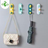 Ganchos trilhos 1 pc toalha gancho de porta de plástico cabide auto adesivo chapéu de parede racks chaveiro organizador home decor titular guyao
