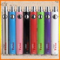 Autentisk Ugo Twist 650MAH 900MAH Batteri Kits Förvärm VV Justerbara spänningsbatterier 510 Shead Bottom Spinner USB Passage 8 färger Valfritt