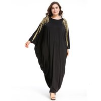 Plus Frauen Perlen Langarm Muslimisches Arabisches Kleid Türkisches Kleid Dubai Marokkanisches Kaftan Islamische Abaya Ramadan Kleidung Jalabiya