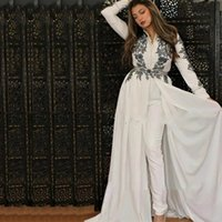 White Long Sleeve Jumpsuit Muslim Evening Dresses V Neck Black Lace Appliques Overskirt Train Arabic Moroccan Formal Gowns