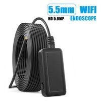Caméras WiFi Endoscope 5.5mm Lens HD1080P IP67 Endoscopie imperméable 6 LEDS 2600 MAH Inspection Caméra Borecope pour Android