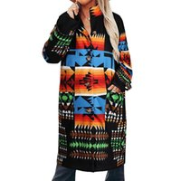 Women's Wool & Blends Women Casual Jackets Loosen Abstract Pattern Printing Pockets Long Sleeves Knee Height Coats Winter