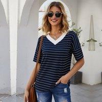 O 넥 짧은 streetwear 스트라이프 정규 바드면 cotton sashs msfilia 210413