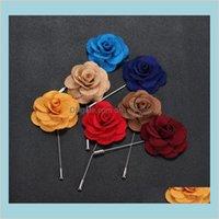 Pines Broches Joyas Lapel Flor Man Mujer Camelia Hecho A Mano Boutonniere Stick Broche Pin Para Hombre Accesorios En 22 Colores Drop Entregar