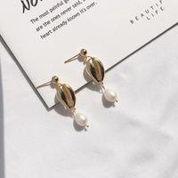 Stud Women Irregular Freshwater Pearl Shell Drop Earring Gold Color Fashion Jewelry