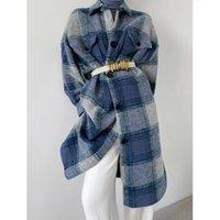 Kadın Takım Elbise Blazers Ctrllock Vintage Ekose Uzun Yün Karışımı Mont Kadınlar Tek Göğüslü Düz Gevşek Kalın Gömlek Yün Outve