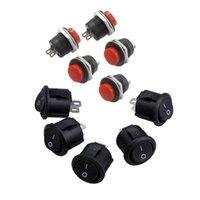 Smart Power Plugs 5 stks SPST BLACK-knop aan / uit ronde rockerschakelaar AC 6A / 125V 3A / 250V x Momentary No Red