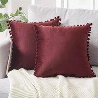 Luxe pom-pom fluwelen kussens snoep kleur effen kleur rits dekking home decor sofa woonkamer gooien kussensloop 45 x 45 cm 607 s2