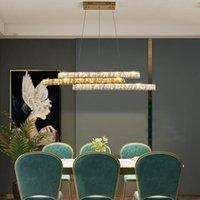 Modern Uzun Şerit LED Kristal Kolye Işıkları Promise Dimming Yemek Odası Restoran Bartable Deco Lamba Asılı Işık Fikstür Lambaları