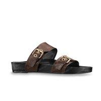2021 Sandalet Kadın Terlik Erkekler Slaytlar Waterfront Kahverengi Deri Sandal Bayan Yüksek Topuklu Erkek Ayakkabı 36-46 ile Turuncu Kutusu ve Toz Bag # LWS-01