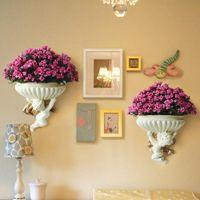 유럽 천사 수지 벽 매달려 꽃병 화분 바구니 현대 럭셔리 아트 꽃 냄비 거실 장식 가정 꽃병