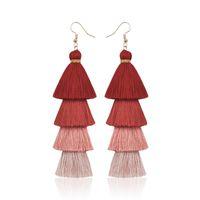 Мода богемный кисточка кристалл длинные серьги белые красные шелковые ткань падение свисающих кисточек серьги для женщин 2019 ювелирные изделия 34Q2