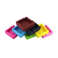 Soft Silicone square Ashtray Mini Ash Tray Portable Anti-scalding solid color Cigarette Holder Home Novelty Crafts Smoking Accessories