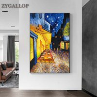 Van Gogh Famous Oil Painting Print Poster Cafe Terrace At Night Reproduction Canvas Wall Art Pictures for Living Room Decoration