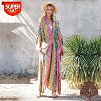 2020 multicolored biquíni capa-ups sexy v-pescoço de manga longa boho verão vestido de praia plus size beachwear swimsuit capa up q1085 # 7a8x