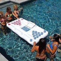 6 피트 플로팅 맥주 퐁 테이블 28 컵 홀더 풍선 풀 게임 여름 파티 쿨러 라운지 물 뗏목을위한 플로트